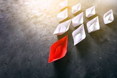 Free Leader Concept With Red Paper Boat Leading White Paper Boats Royalty Free Stock Photography - 185814207