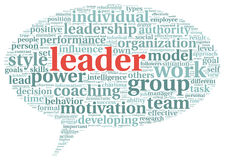 Leader concept in word tag cloud Royalty Free Stock Photo