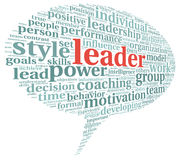 Leader concept in word tag cloud Royalty Free Stock Photos