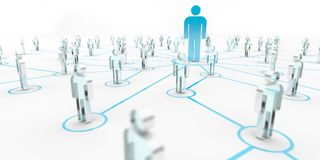 Leader connecting a group of people 3D rendering Royalty Free Stock Images