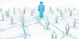 Leader connecting a group of people 3D rendering Royalty Free Stock Photography