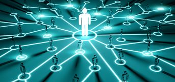 Leader connecting a group of people 3D rendering Stock Photos