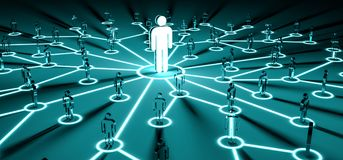 Leader connecting a group of people 3D rendering Royalty Free Stock Photo