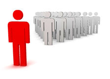 Leader and a crowd. Standing out from the crowd stock illustration