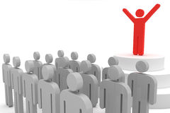 Leader and crowd. Leader speaking to crowd. 3d objects isolated on the white background Royalty Free Stock Photo