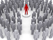 Leader in the crowd. Concept 3D illustration Royalty Free Stock Photo