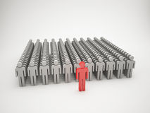 Leader and crowd. 3d illustration Stock Images