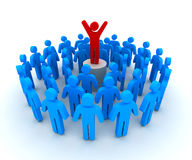 Leader and crowd 3d illustration Stock Image