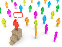 Leader and Crowd. 3D image of leader talking to a crowd on white background Stock Photography