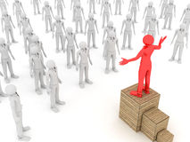Leader and Crowd. 3D image of leader talking to a crowd on white background Royalty Free Stock Image