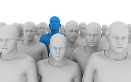 Leader in the crowd. 3d illustration of a crowd of similar individuals, with one in the crowd a different colour, looking up. Perfect for leadership material royalty free illustration
