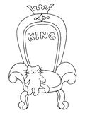 Leader. A cute cat sits on the royal throne. Stock Images