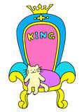 Leader. A cute cat sits on the royal throne. Stock Photos