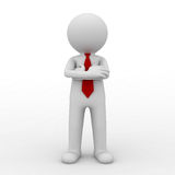 Leader. 3d business man standing with arms crossed over white background. 3D rendering Stock Image
