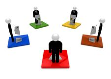 Leader Debate concept. 3D render image representing five leaders with lecterns and microphones. Debate concept stock illustration