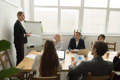 Leader della squadra femminile che discute piano predisposto al gruppo multirazziale Immagini Stock