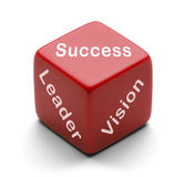 Leader Dice. Red Dice wtih Success Leader and Vision on it Isolated on White Background Stock Images