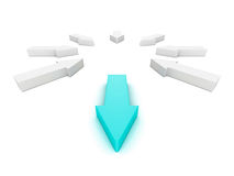 Leader different blue arrow out from white group. 3d render illustration Stock Photography