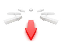 Leader different red arrow out from white group. 3d render illustration Royalty Free Stock Image
