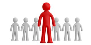 Team of white human figures, one red figure ahead, isolated on white background. 3d illustration. Leader or distinction concept. Team of white human figures, one Royalty Free Stock Images