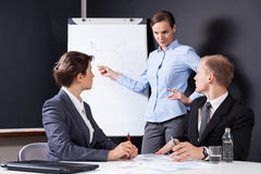 Leader drawing chart on the board Stock Images