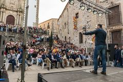The leader of the far-right party Vox, during his speech at the rally held in the Plaza de San Jorge in Caceres. Caceres, Extremadura, Spain - May  18, 2019 stock photography