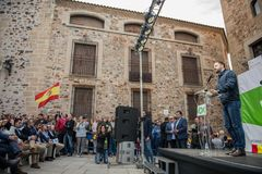 The leader of the far-right party Vox, during his speech at the rally held in the Plaza de San Jorge in Caceres. Caceres, Extremadura, Spain - May  18, 2019 royalty free stock photography