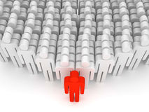 Leader figure. Abstract crowd leading figure. rendered over white background Stock Photos