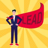 Successful man, leader, businessman in suit and red cape with LEAD text flat style design vector illustration isolated on rays bac vector illustration