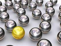 Leader gold ball. The gold ball stands out Stock Photography
