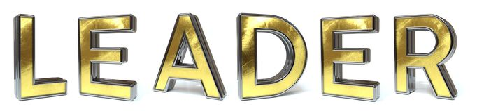 Leader golden text Royalty Free Stock Image