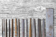 Leader group of vintage keysmith metal files Royalty Free Stock Photo