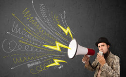 Leader guy shouting into megaphone with hand drawn lines and arr Royalty Free Stock Photos