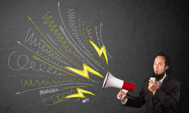 Leader guy shouting into megaphone with hand drawn lines and arr Royalty Free Stock Image
