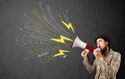 Leader guy shouting into megaphone with hand drawn lines and arr Royalty Free Stock Images