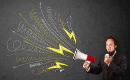 Leader guy shouting into megaphone with hand drawn lines and arr Stock Images