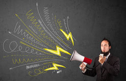 Leader guy shouting into megaphone with hand drawn lines and arr Royalty Free Stock Photography