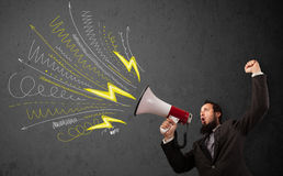 Leader guy shouting into megaphone with hand drawn lines and arr Stock Image