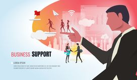 Leader helping business team ver2.1 vector illustration