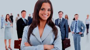Business woman and her team. Leader and her team, Young attractive business people Stock Photography