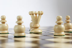 Leader with his team. On the chessboard Royalty Free Stock Photo