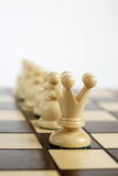 Leader with his team. On the chessboard Stock Images