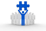Leader holding blue jigsaw piece next to line of human forms. On white background Stock Photography