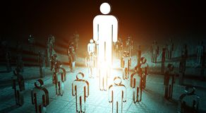 Leader illuminating a group of people 3D rendering. Leader illuminating a group of people on dark background 3D rendering Royalty Free Stock Photo