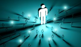 Leader illuminating a group of people 3D rendering. Leader illuminating a group of people on dark background 3D rendering Royalty Free Stock Photography