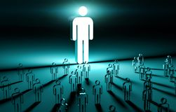 Leader illuminating a group of people 3D rendering Royalty Free Stock Photo