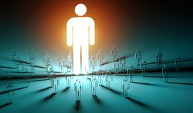 Leader illuminating a group of people 3D rendering Royalty Free Stock Images