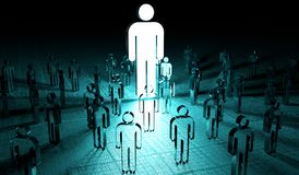 Leader illuminating a group of people 3D rendering. Leader illuminating a group of people on dark background 3D rendering Royalty Free Stock Images