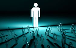 Leader illuminating a group of people 3D rendering Stock Images