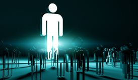 Leader illuminating a group of people 3D rendering Royalty Free Stock Image